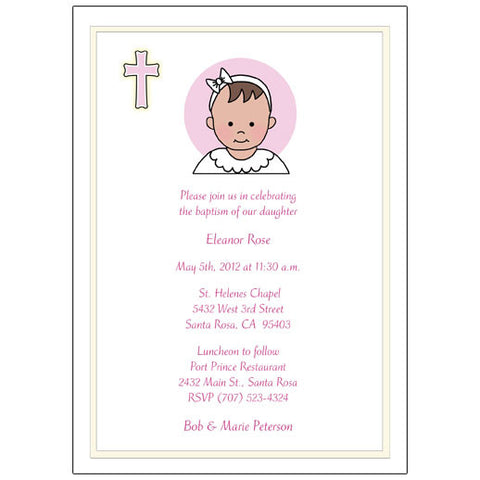 Baptism or Christening Invitation - Baby Girl