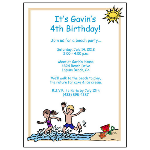 Beach Party Birthday Invitation -Girl and Boy