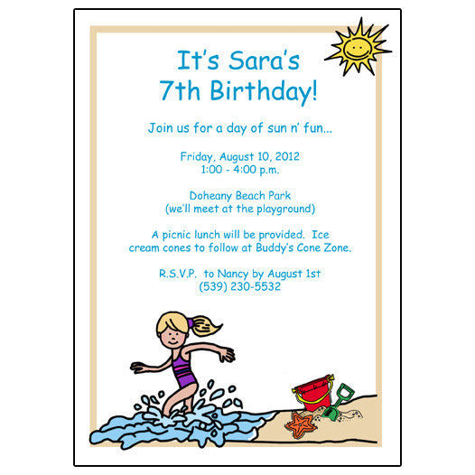 Beach Party Birthday Invitation - Girl