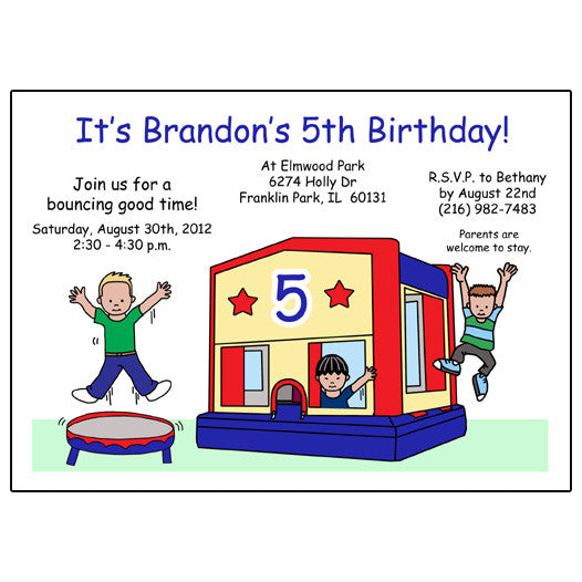 Bounce House Birthday Party Invitation - Blue & Red