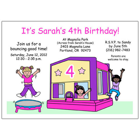 Bounce House Birthday Party Invitation - Pink & Purple