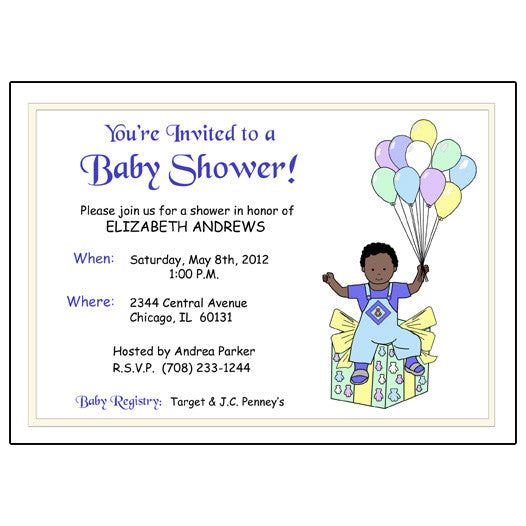 Balloon Baby Shower Invitation - Boy