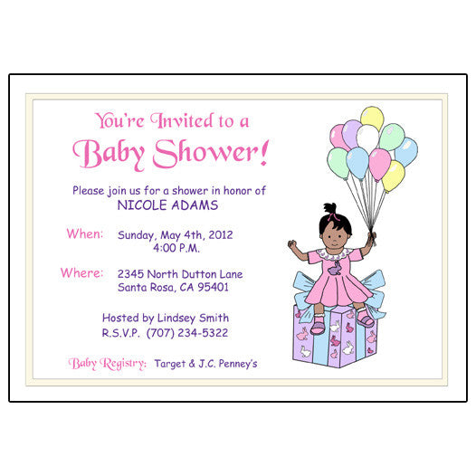 Balloon Baby Shower Invitation - Girl