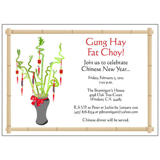 Lucky bamboo invitation - chinese new year or tet