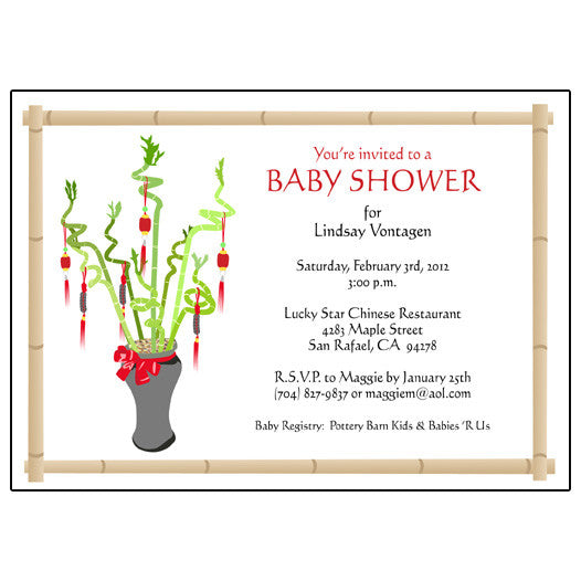 Lucky Bamboo Adoption Shower Invitation