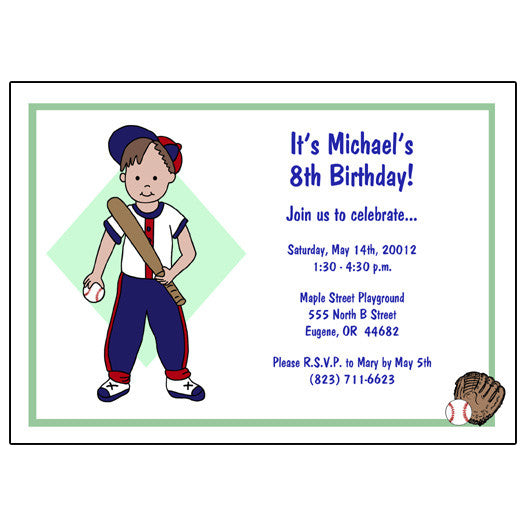 Baseball Boy Birthday Party Invitation