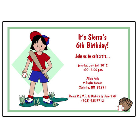 Baseball Girl Birthday Party Invitation