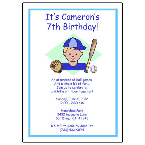 Baseball Kid Invitation - Boy