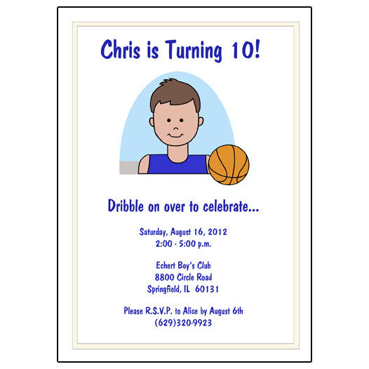 Basketball Boy Birthday Party Invitation