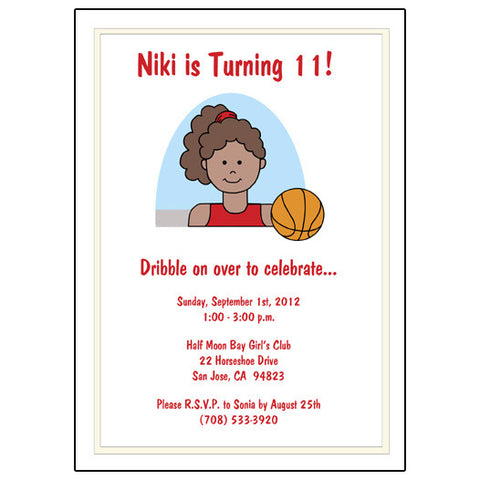 Basketball Girl Birthday Party Invitation