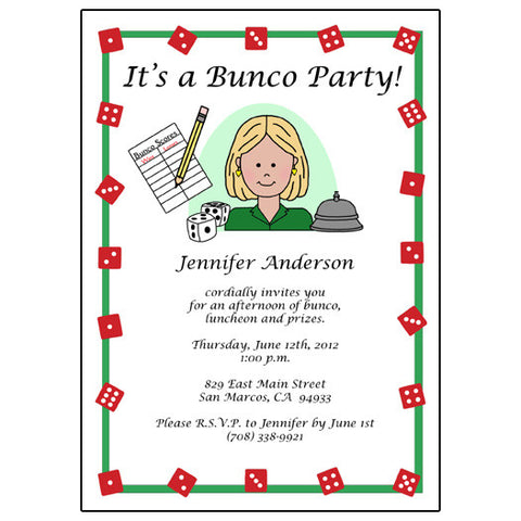 Bunco Party Invitation