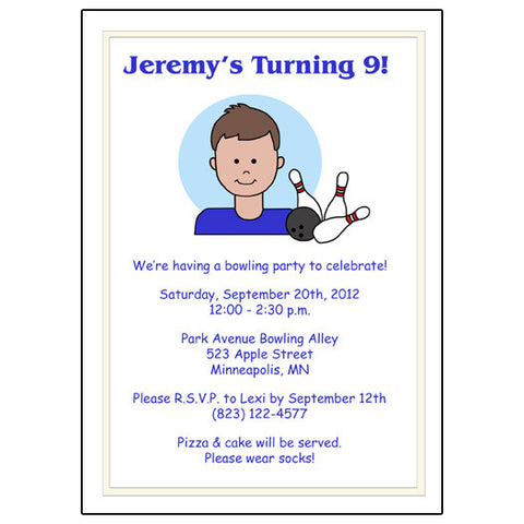 Bowling Kid Birthday Party Invitation - Boy