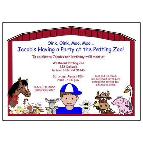 Barnyard or Petting Zoo Birthday Party Invitation - Boy