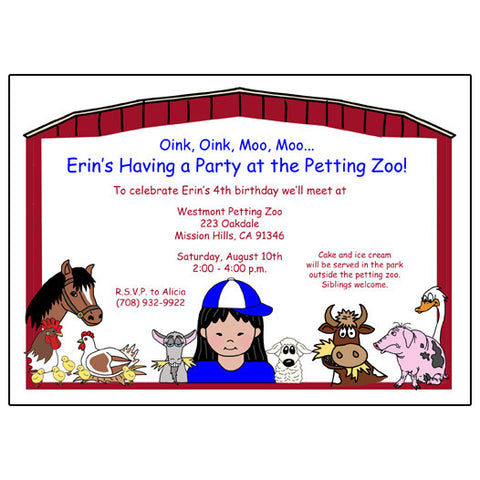 Barnyard or Petting Zoo Birthday Party Invitation - Girl