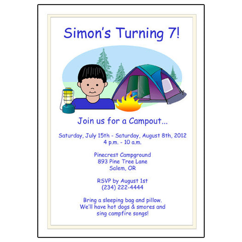 Camping Kid Birthday Party Invitation - Boy