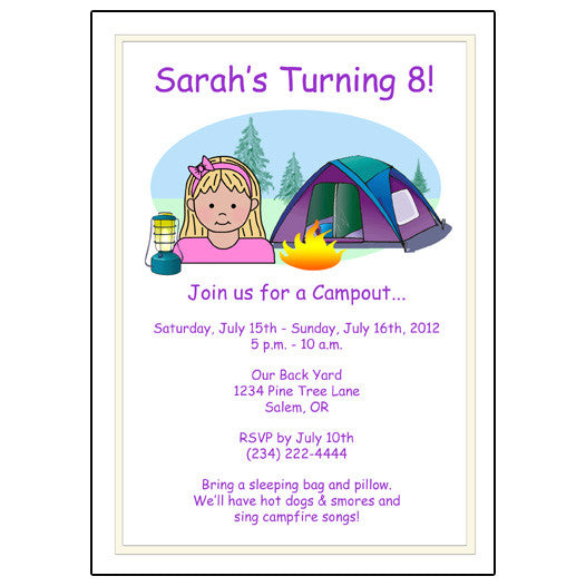 Camping Kid Birthday Party Invitation - Girl