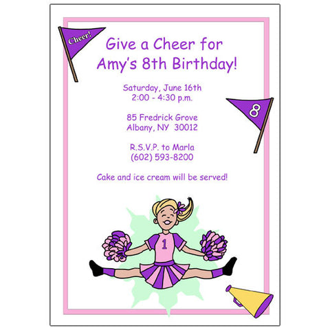 Cheerleader Birthday Party Invitation