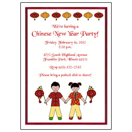 Chinese New Year Party Invitation (Vietnamese & Korean also ...