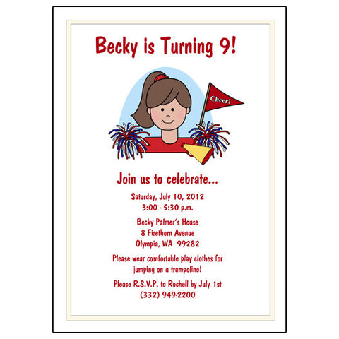 Cheerleading Kid Birthday Party Invitation