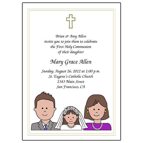 First Communion or Confirmation Invitation - Cartoon Family Design