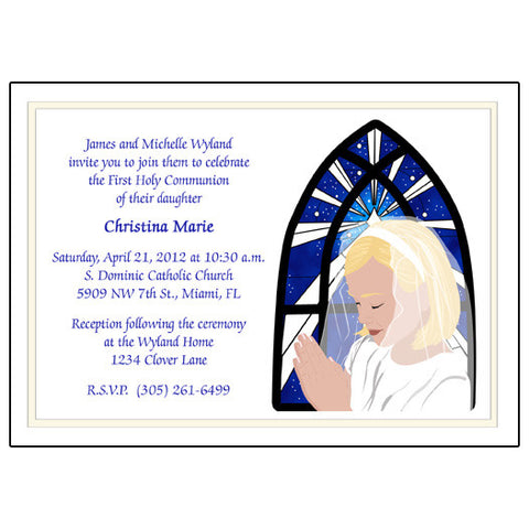 First Communion Invitation - Praying Girl Design