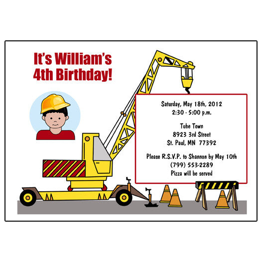 Construction Boy Birthday Party Invitation