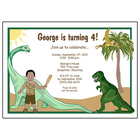 Dinosaur Birthday Party Invitation - Boy