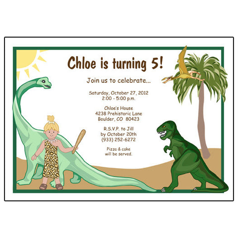 Dinosaur Birthday Party Invitation - Girl