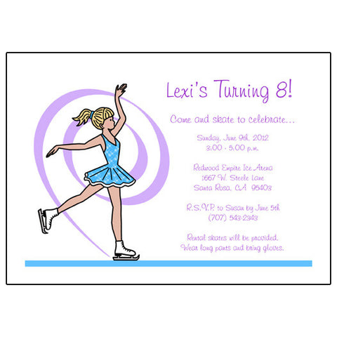 Ice Skating Birthday Party Invitation - Dainty Swirl Skater