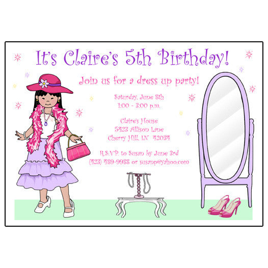 dress up girl birthday party invitations mandys moon personalized