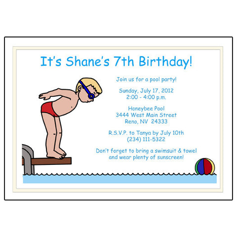 Pool or Swimming Birthday Party Invitation - Boy