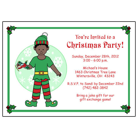Kids Christmas Party Invitation - Boy Elf