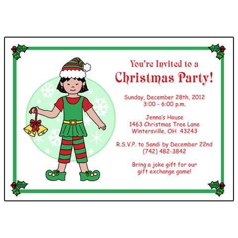 Kids Christmas Party Invitation - Girl Elf