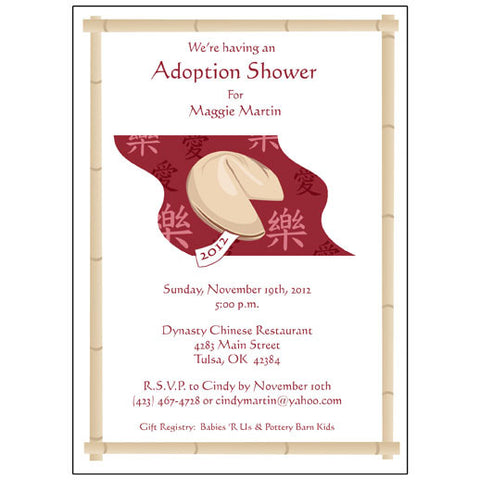 Fortune Cookie Adoption Shower or Party Invitation