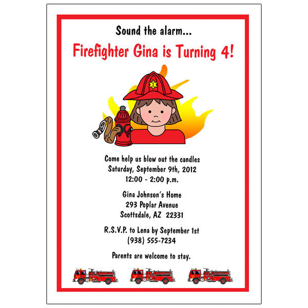 Firefighter Birthday Party Invitation - Girl