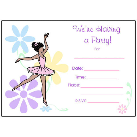 Ballet or Dance Fill in the Blank Invitations - Dainty Floral Ballerina