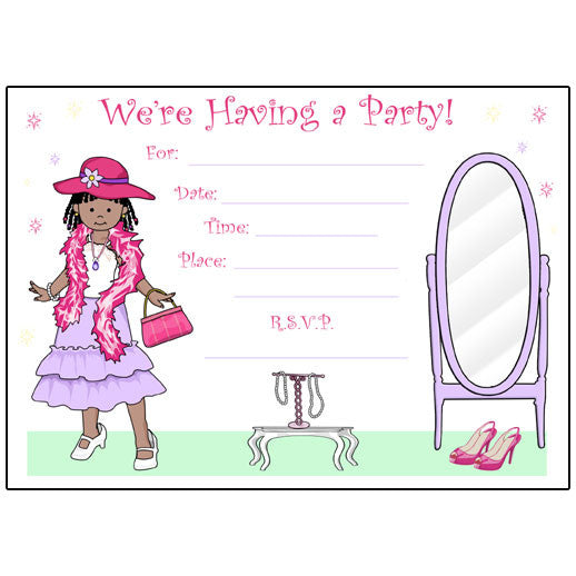 Dress Up Girl Birthday Party Fill in Invitations