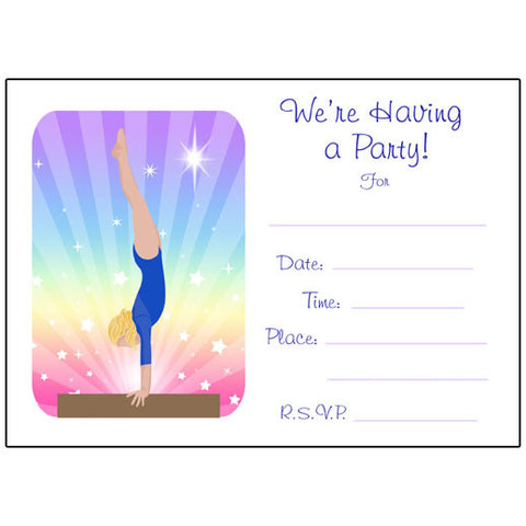 Gymnastics Dreams Fill in the blank Birthday Party Invitations - Beam