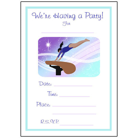 Gymnastics Dreams Fill in the blank Birthday Party Invitations - Vault