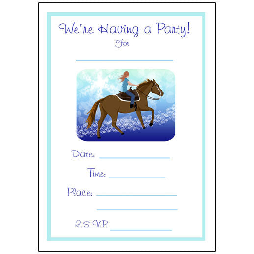 Horse Dreams Fill in the blank Birthday Party Invitations – Mandys Moon Personalized Gifts