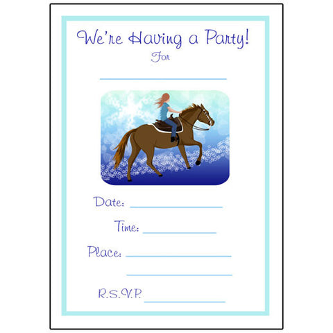 Horse Dreams Fill in the blank Birthday Party Invitations