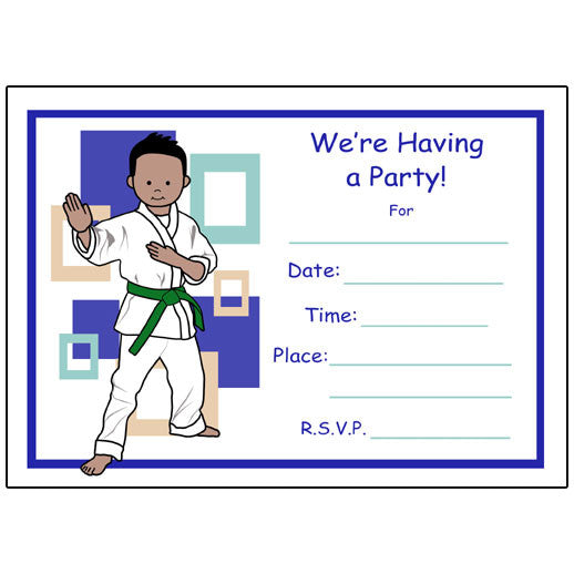 Martial arts or karate kids fill in birthday party invitations for