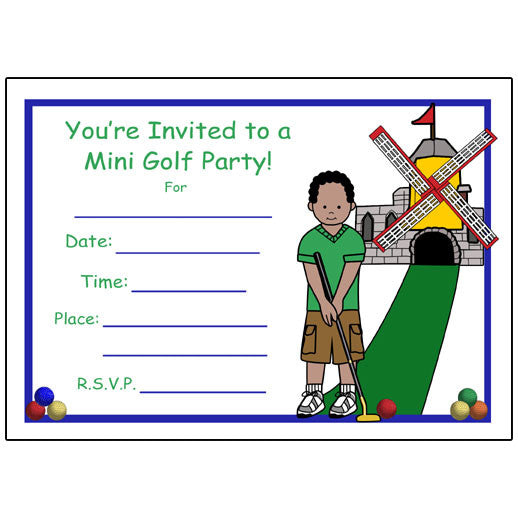 Mini Golf Birthday Fill in Invitations (Design 2) - Boy