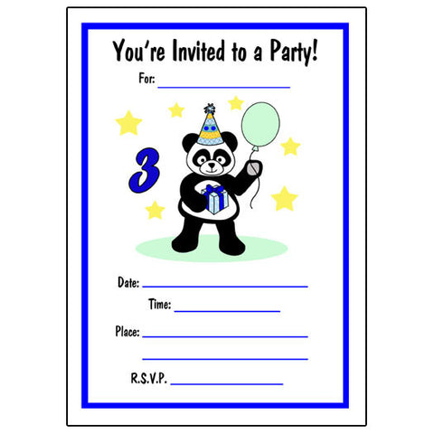 Birthday Party Panda Fill in Invitations - Boy