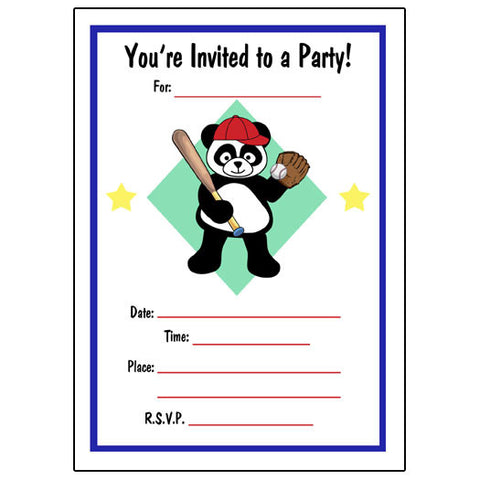 Baseball Panda Fill in Invitations