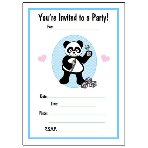 Baby Panda Fill in Invitations - Boy