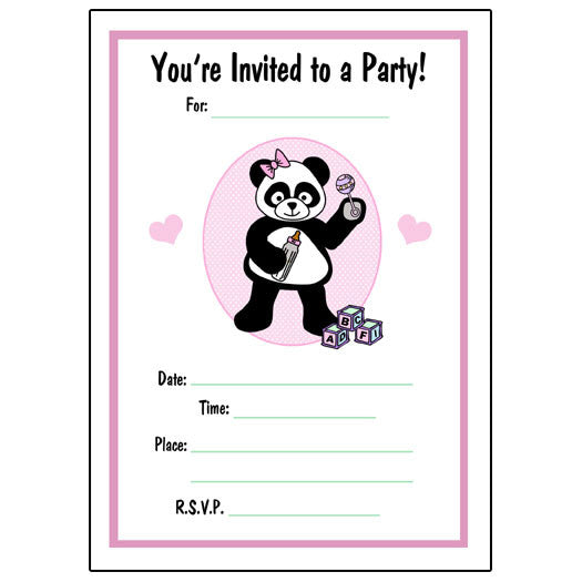Baby Panda Fill in Invitations - Girl