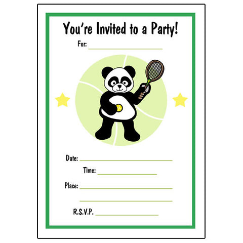 Tennis Panda Fill in Invitations - Boy