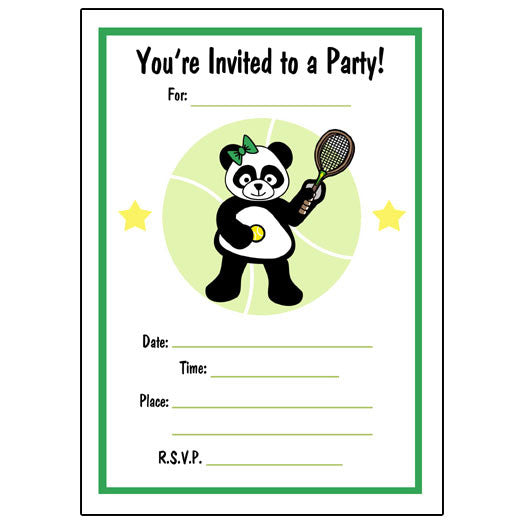 Tennis Panda Fill in Invitations - Girl