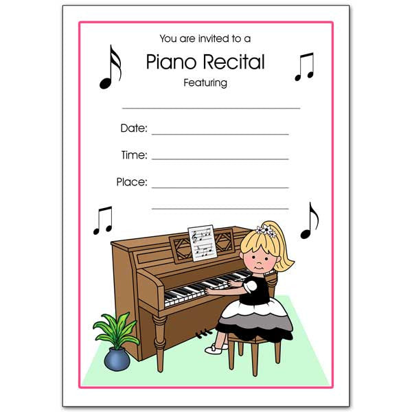 Piano Recital Girl Fill In the Blank Invitations